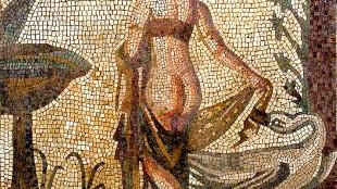 Leda en de zwaan, mozaiek (foto Wikipedia)