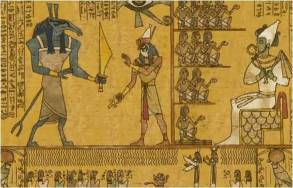 Reliëf met Seth, Horus en Osiris (foto Tutenstein Wiki - Fandom)