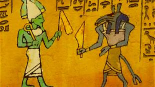 Reliëf, waarop Seth met Osiris vecht (foto Tutenstein Wiki-Fandom)
