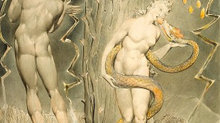 """William Blake - The Temptation and Fall of Eve (Illustration to Milton's """"Paradise Lost"""", foto Wikiquote)"""