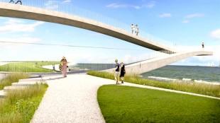 Het ontwerp van SeaSaw, het kunstwerk moet 3,5 miljoen euro kosten, er is nu negen ton (foto Impressie bureau MVRDV)