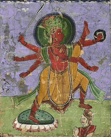 Avatara Vamana splashes Bali's head, and sends him to the Patala (foto Wikipedia)