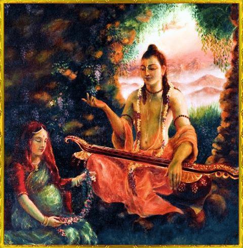 Narada Muni teachning Prahlad in womb of his mother (foto bhagavatam-katha)