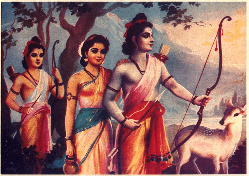 Rama, along with his younger brother Lakshmana and wife Sita, exiled to the forest (foto Wikipedia)