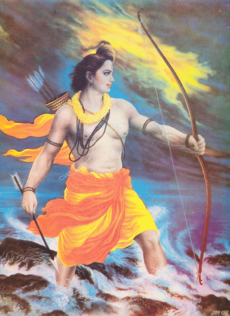 Rama iconography widely varies, and typically show him in context of some legend, above, Rama trying to cross the sea (foto Wikipedia)