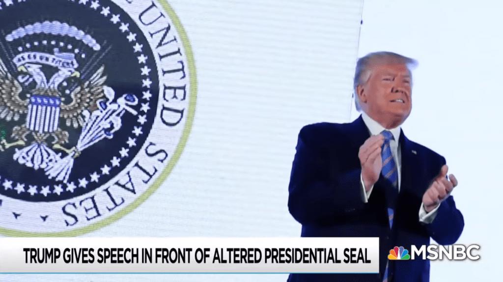 Trump met fake seal (screenshot MSNBC)