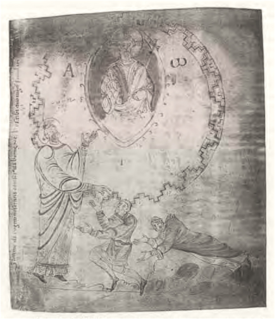 Graaf Dirk II en zijn vrouw Hildegard schenken een evangeliarium aan de abdij van Egmond en knielen voor de heilige Adalbert
