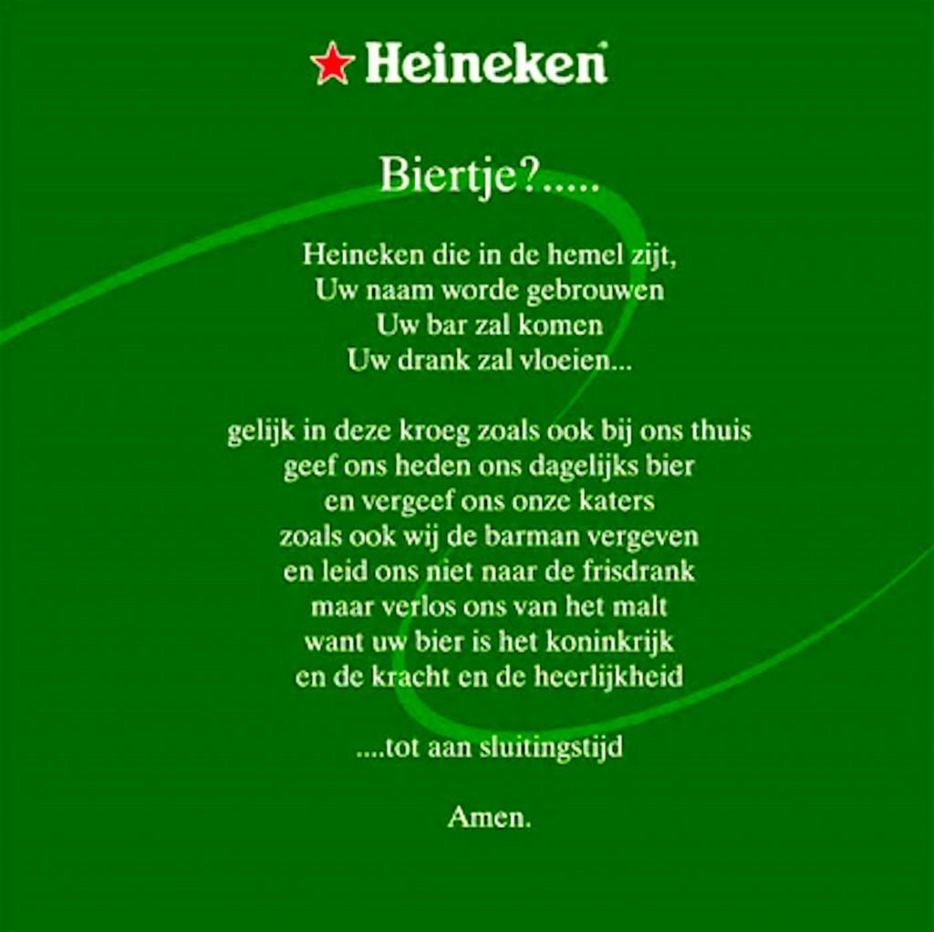 Het Heineken gebed (foto Twitter)