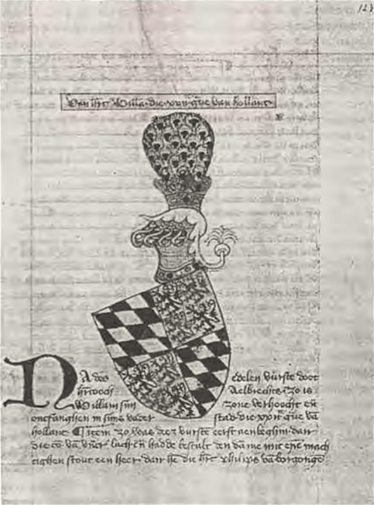Wapenschilden van de met graaf Albrecht tegen de Friezen strijdende ridders in het wapenboek van Heraut Beieren
