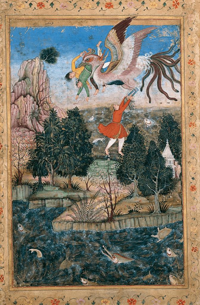 Basawan. The Flight of the Simurgh. ca. 1590, Sadruddin Aga Khan Collection (photo Wikipedia)