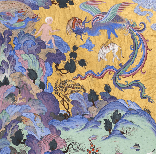 Simurgh returning to nest to Zal and its chicks (detail) (Photo Wikipedia)